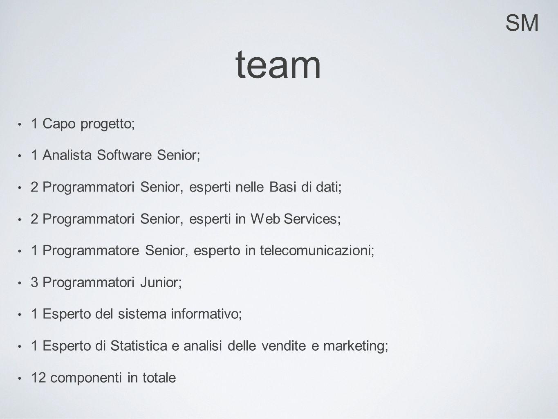 SM team 1 Capo progetto; 1 Analista Software Senior; 2 Programmatori Senior, esperti nelle Basi di dati; 2 Programmatori Senior, esperti in Web Servic