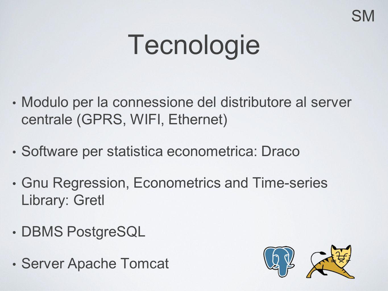 SM Tecnologie Modulo per la connessione del distributore al server centrale (GPRS, WIFI, Ethernet) Software per statistica econometrica: Draco Gnu Reg