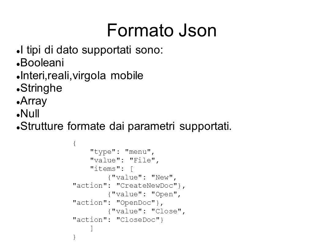 Formato Json I tipi di dato supportati sono: Booleani Interi,reali,virgola mobile Stringhe Array Null Strutture formate dai parametri supportati. {