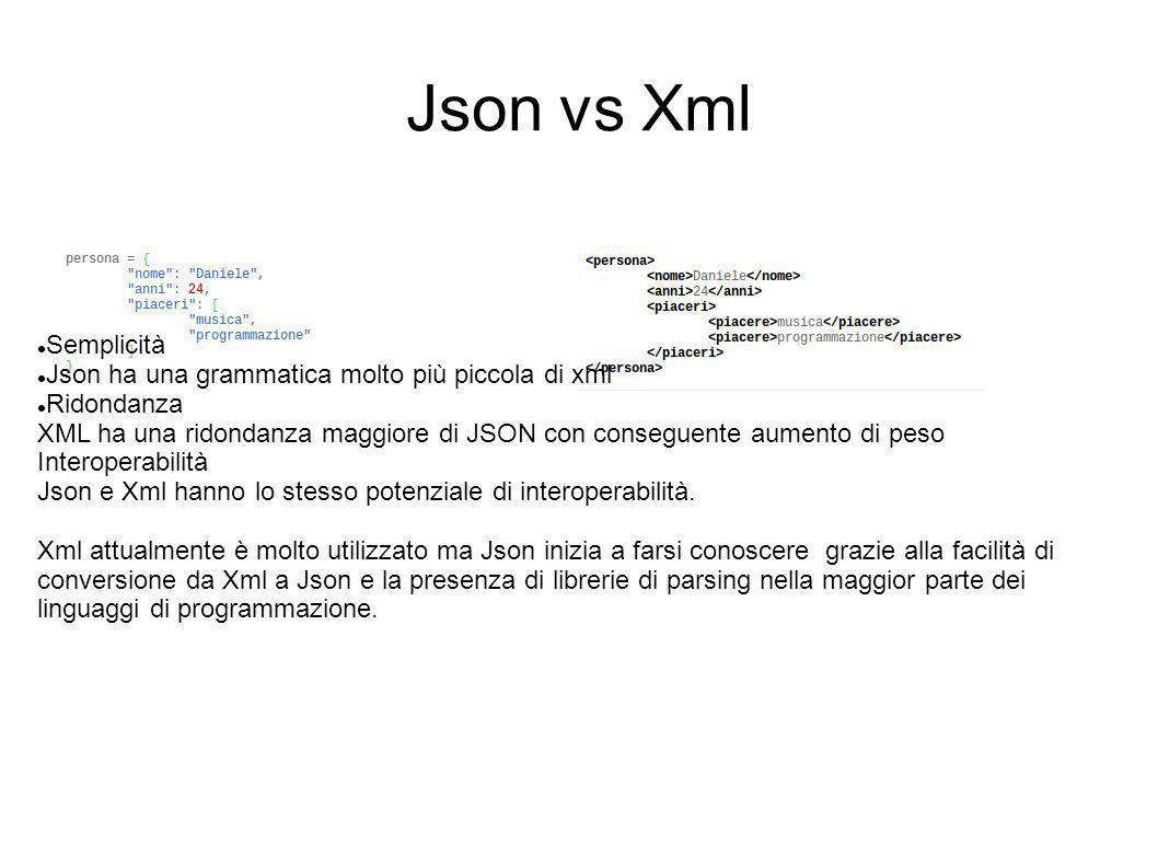 Json vs Xml Semplicità Json ha una grammatica molto più piccola di xml Ridondanza XML ha una ridondanza maggiore di JSON con conseguente aumento di pe