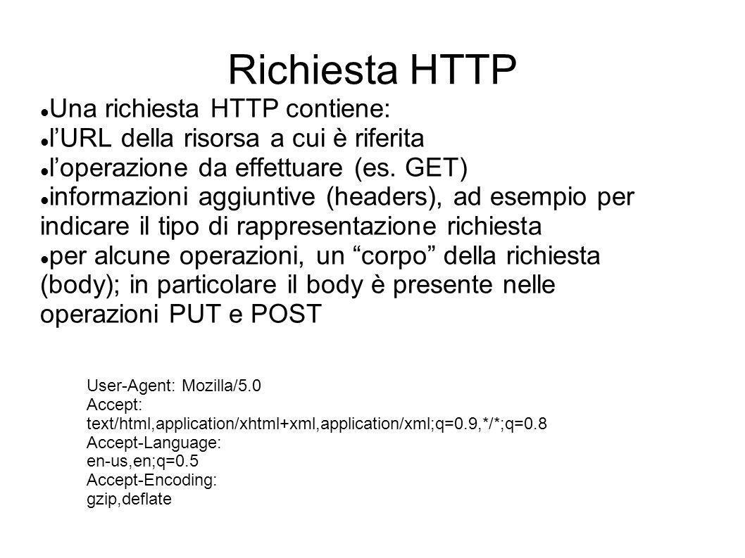 Risposta HTTP Una risposta HTTP contiene: un codice numerico che indica lesito delloperazione (status) informazioni aggiuntive (headers); ad esempio, il tipo di rappresentazione restituito per alcune operazioni, un corpo della risposta (body) HTTP/1.1 200 OK X-Powered-By: Servlet 2.4; JBoss-4.2.2.GA Content-Type: text/html JBoss RESTEasy Project JBoss RESTEasy JBoss RESTEasy is an open source implementation of the JAX- RS specification..