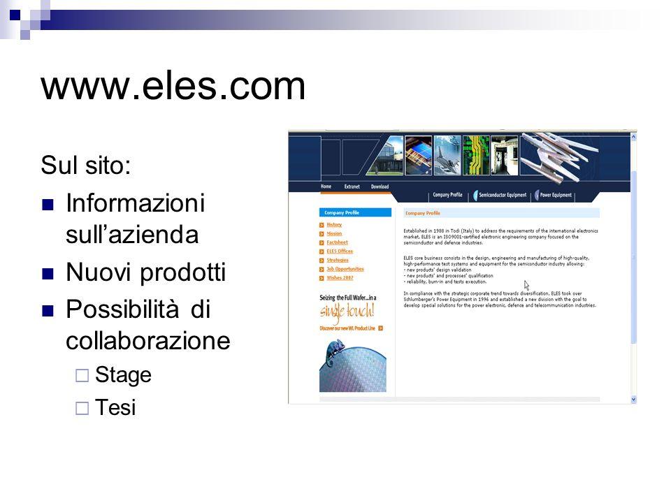 www.eles.com Sul sito: Informazioni sullazienda Nuovi prodotti Possibilità di collaborazione Stage Tesi