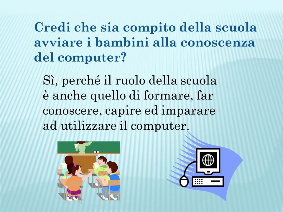 Credi che sia compito della scuola avviare i bambini alla conoscenza del computer.