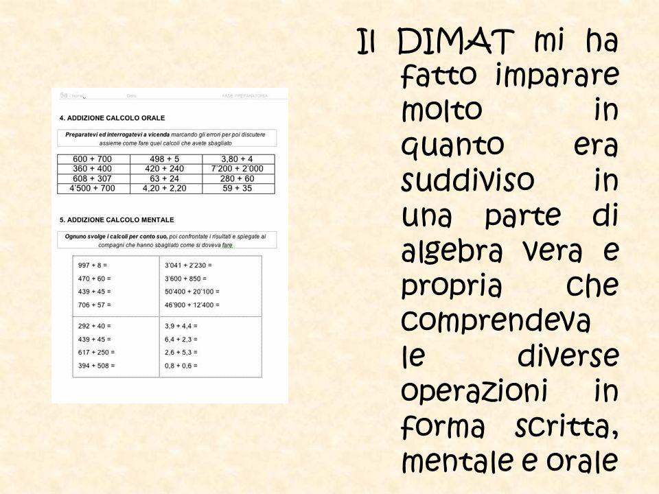 Il DIMAT mi ha fatto imparare molto in quanto era suddiviso in una parte di algebra vera e propria che comprendeva le diverse operazioni in forma scri