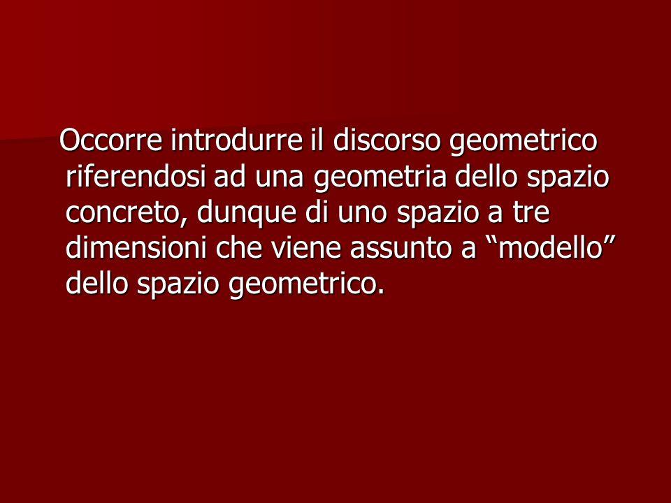 Occorre introdurre il discorso geometrico riferendosi ad una geometria dello spazio concreto, dunque di uno spazio a tre dimensioni che viene assunto