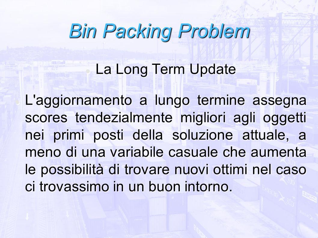 Bin Packing Problem La Long Term Update La Long Term Update L'aggiornamento a lungo termine assegna scores tendezialmente migliori agli oggetti nei pr