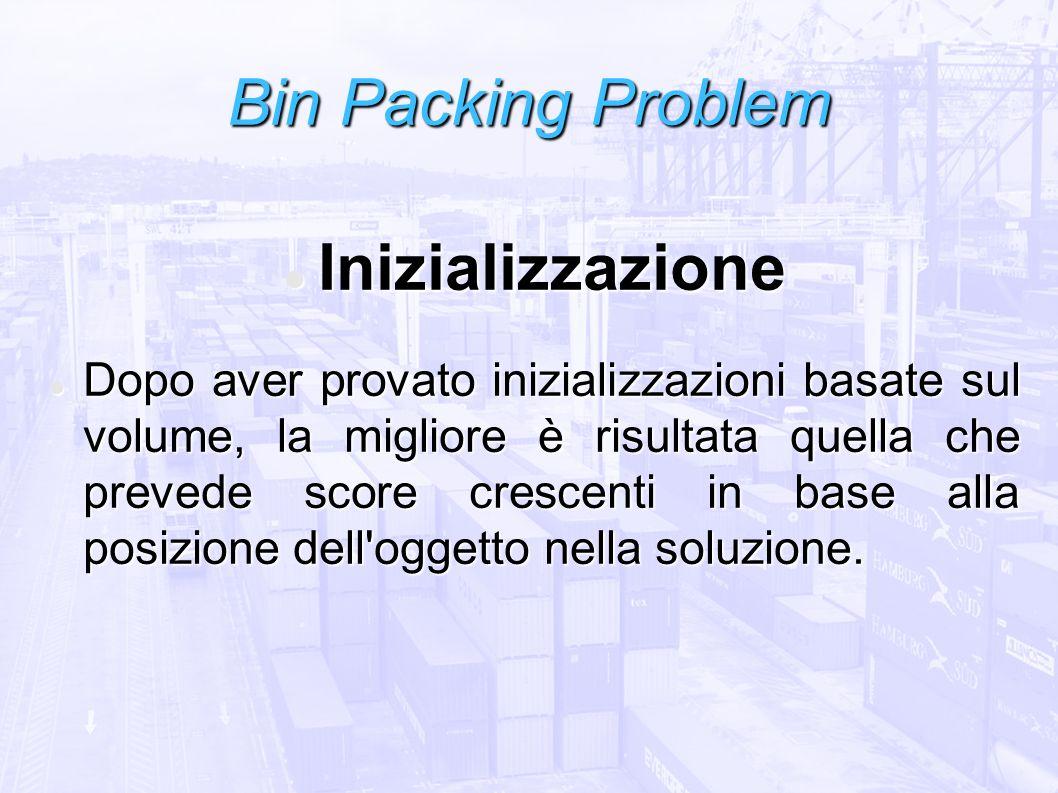 Bin Packing Problem Inizializzazione Inizializzazione Dopo aver provato inizializzazioni basate sul volume, la migliore è risultata quella che prevede