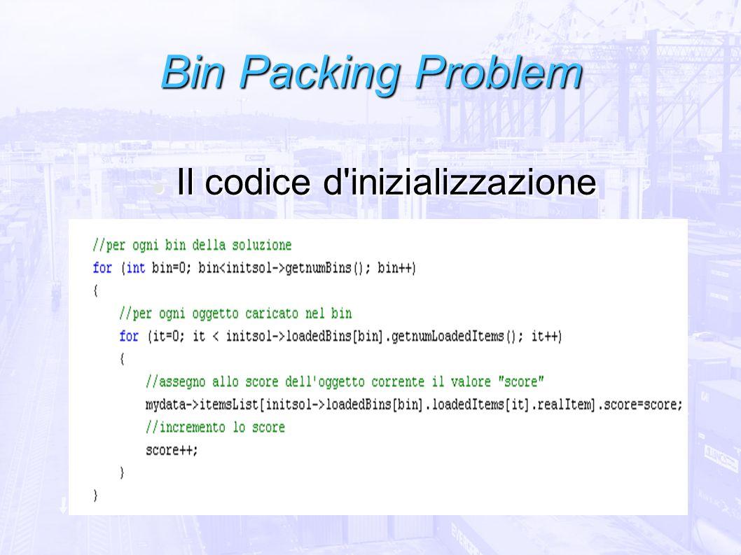 Bin Packing Problem Il codice d'inizializzazione Il codice d'inizializzazione
