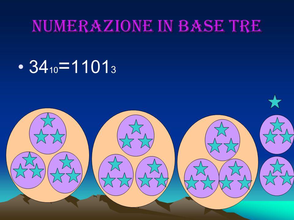 Numerazione in base tre 34 10 = 1101 3