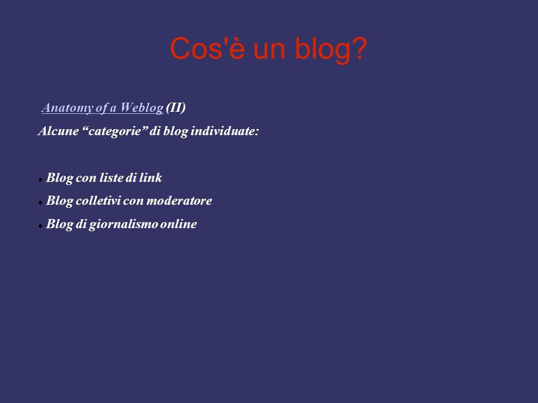 Cos'è un blog? Anatomy of a Weblog (II)Anatomy of a Weblog Alcune categorie di blog individuate: Blog con liste di link Blog colletivi con moderatore