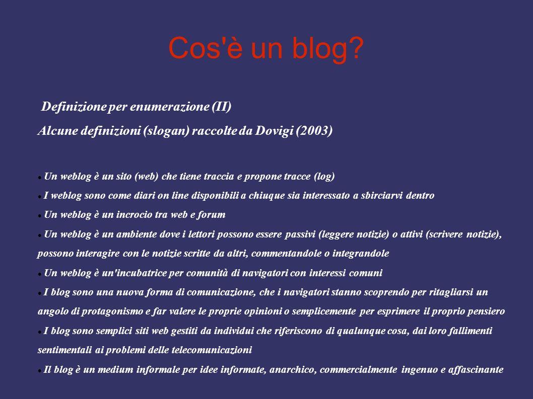 Cos'è un blog? Definizione per enumerazione (II) Alcune definizioni (slogan) raccolte da Dovigi (2003) Un weblog è un sito (web) che tiene traccia e p
