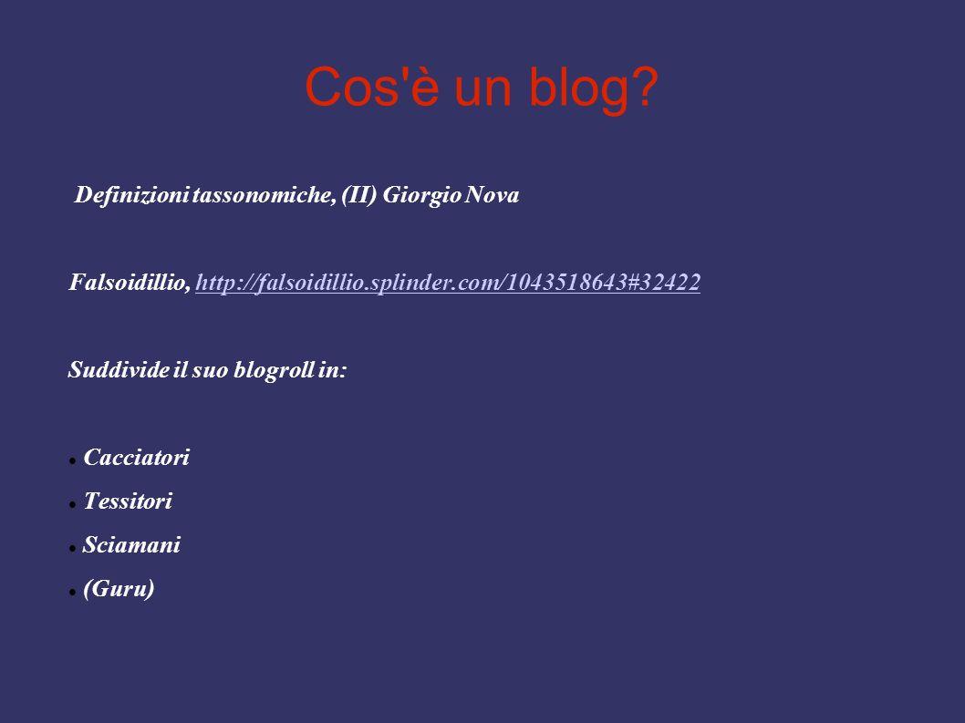 Cos'è un blog? Definizioni tassonomiche, (II) Giorgio Nova Falsoidillio, http://falsoidillio.splinder.com/1043518643#32422http://falsoidillio.splinder