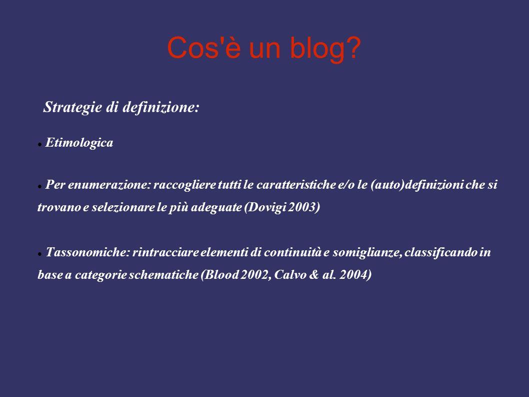 Cos'è un blog? Strategie di definizione: Etimologica Per enumerazione: raccogliere tutti le caratteristiche e/o le (auto)definizioni che si trovano e