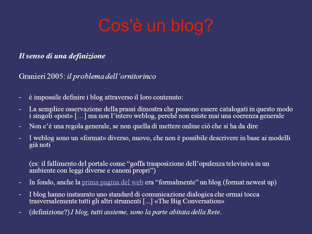 Cos'è un blog? Il senso di una definizione Granieri 2005: il problema dellornitorinco - è impossile definire i blog attraverso il loro contenuto: -La