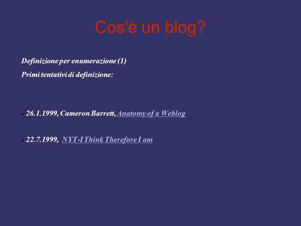 Cos'è un blog? Definizione per enumerazione (1) Primi tentativi di definizione: 26.1.1999, Cameron Barrett, Anatomy of a WeblogAnatomy of a Weblog 22.