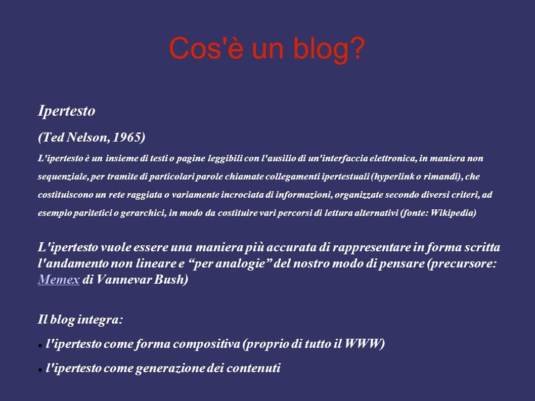 Cos'è un blog? Ipertesto (Ted Nelson, 1965) L'ipertesto è un insieme di testi o pagine leggibili con l'ausilio di un'interfaccia elettronica, in manie