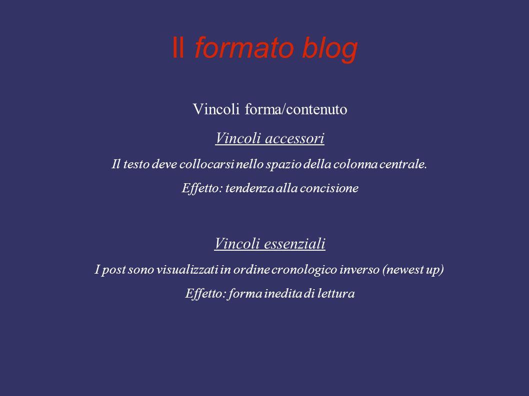 Il formato blog Vincoli forma/contenuto Vincoli accessori Il testo deve collocarsi nello spazio della colonna centrale. Effetto: tendenza alla concisi