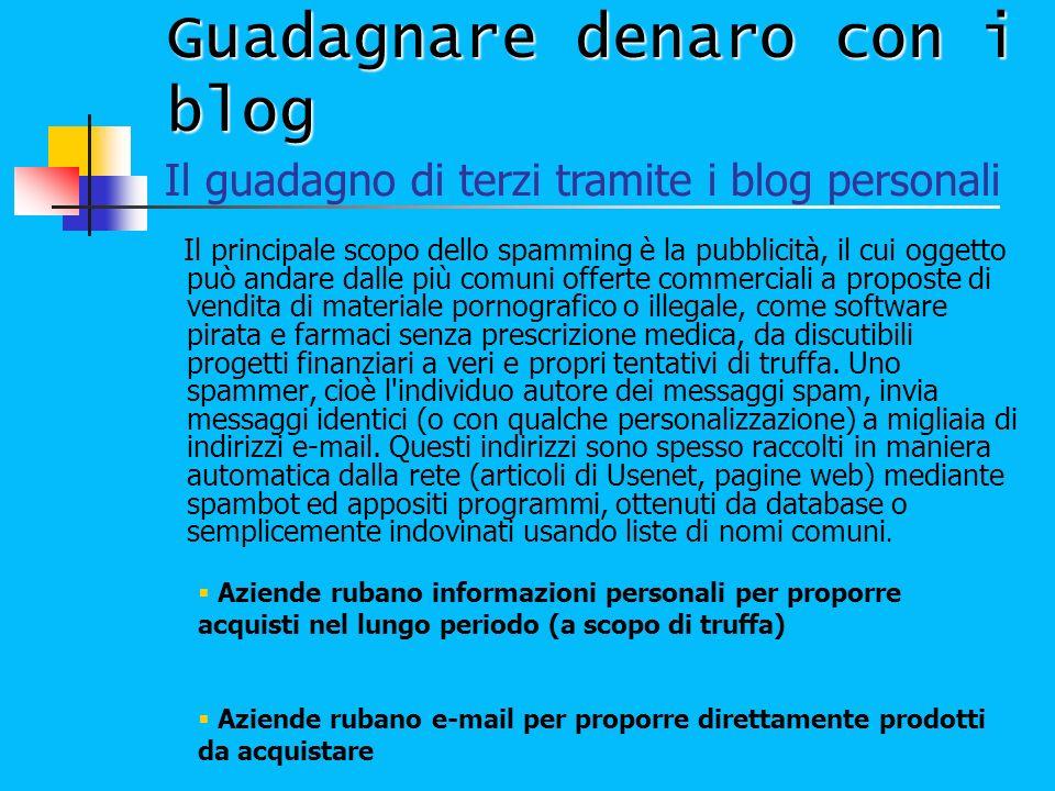 Guadagnare denaro con i blog Il principale scopo dello spamming è la pubblicità, il cui oggetto può andare dalle più comuni offerte commerciali a prop