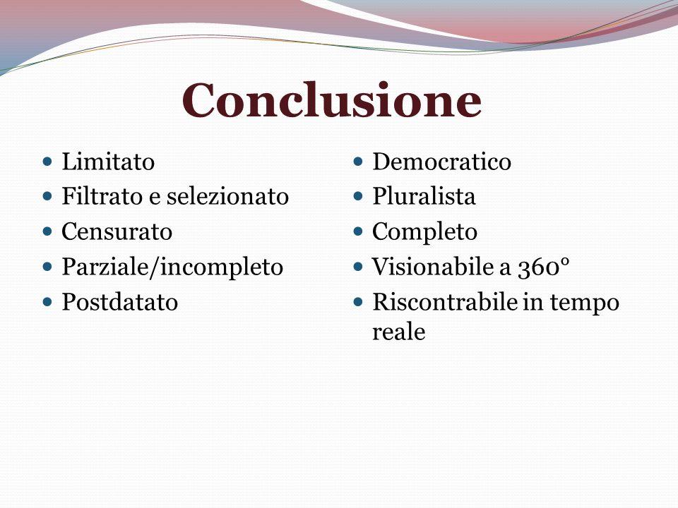 Conclusione Limitato Filtrato e selezionato Censurato Parziale/incompleto Postdatato Democratico Pluralista Completo Visionabile a 360° Riscontrabile in tempo reale