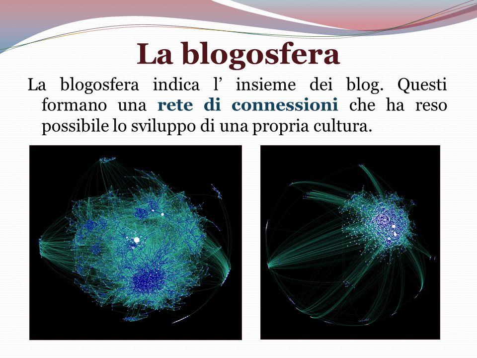 La blogosfera La blogosfera indica l insieme dei blog. Questi formano una rete di connessioni che ha reso possibile lo sviluppo di una propria cultura