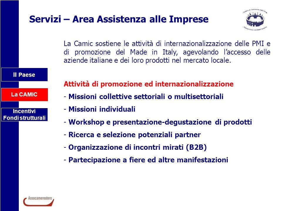 Il Paese La CAMIC Incentivi Fondi strutturali Servizi – Area Assistenza alle Imprese La Camic sostiene le attività di internazionalizzazione delle PMI