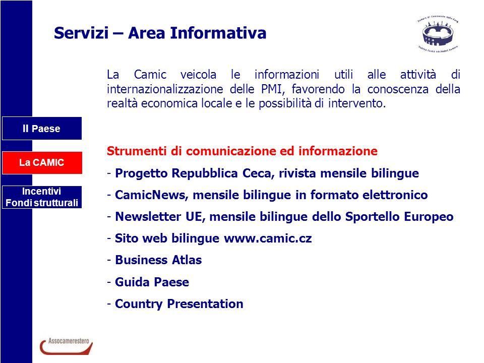 Il Paese La CAMIC Incentivi Fondi strutturali Servizi – Area Informativa La Camic veicola le informazioni utili alle attività di internazionalizzazion