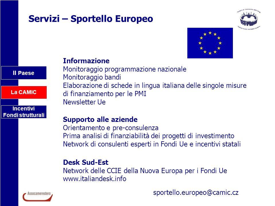 Il Paese La CAMIC Incentivi Fondi strutturali Servizi – Sportello Europeo Informazione Monitoraggio programmazione nazionale Monitoraggio bandi Elabor