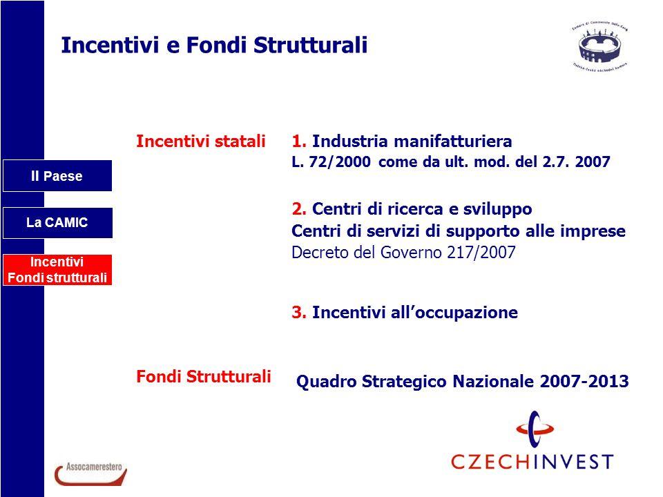 Il Paese La CAMIC Incentivi Fondi strutturali Incentivi e Fondi Strutturali 1. Industria manifatturiera L. 72/2000 come da ult. mod. del 2.7. 2007 2.