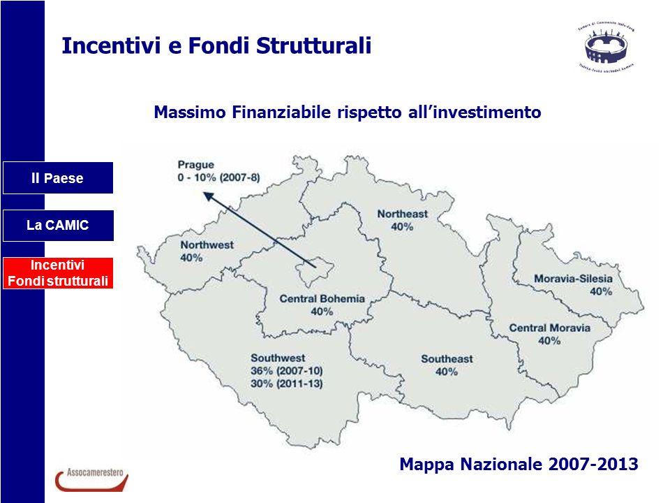 Il Paese La CAMIC Incentivi Fondi strutturali Incentivi e Fondi Strutturali Massimo Finanziabile rispetto allinvestimento Mappa Nazionale 2007-2013