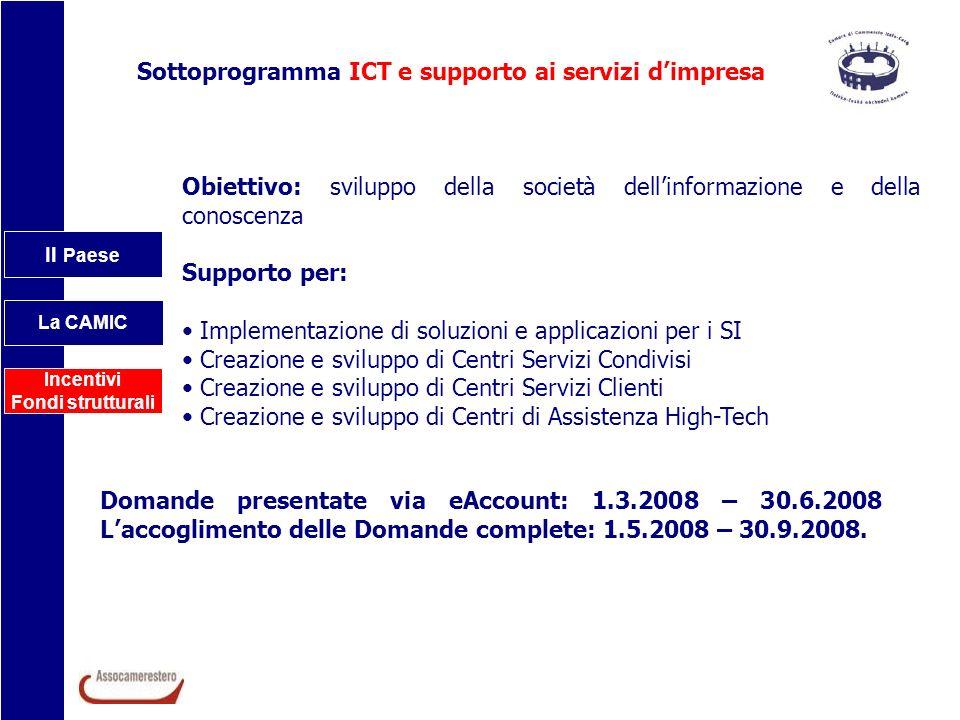 Il Paese La CAMIC Incentivi Fondi strutturali Sottoprogramma ICT e supporto ai servizi dimpresa Obiettivo: sviluppo della società dellinformazione e d