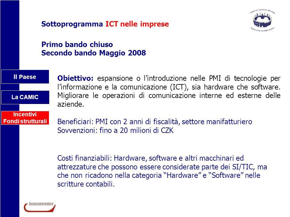 Il Paese La CAMIC Incentivi Fondi strutturali Sottoprogramma ICT nelle imprese Primo bando chiuso Secondo bando Maggio 2008 Obiettivo: espansione o li