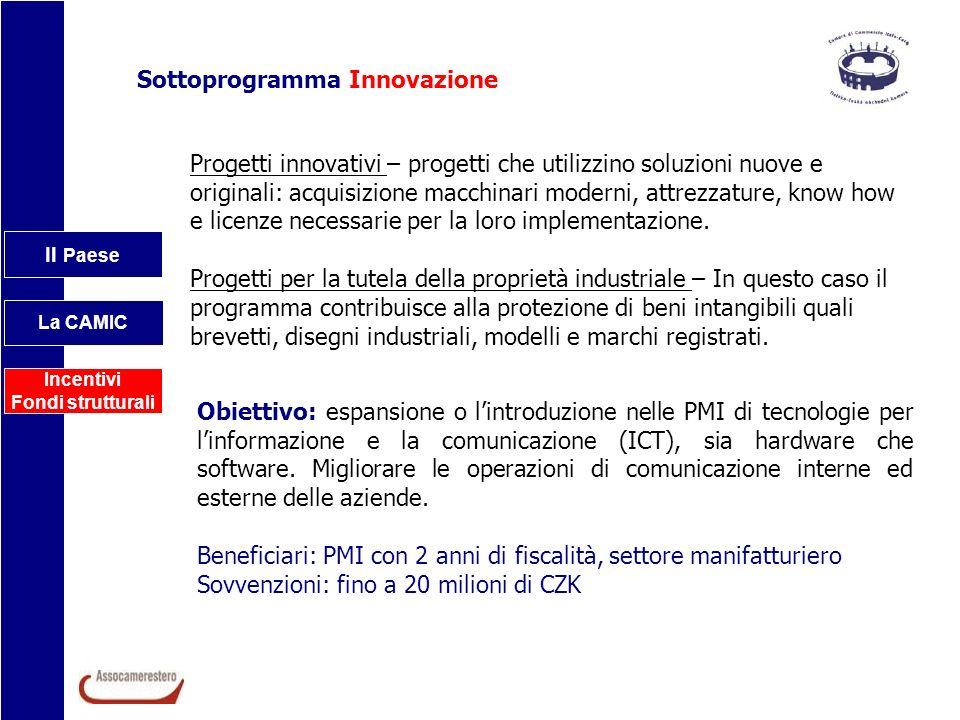 Il Paese La CAMIC Incentivi Fondi strutturali Sottoprogramma Innovazione Progetti innovativi – progetti che utilizzino soluzioni nuove e originali: ac