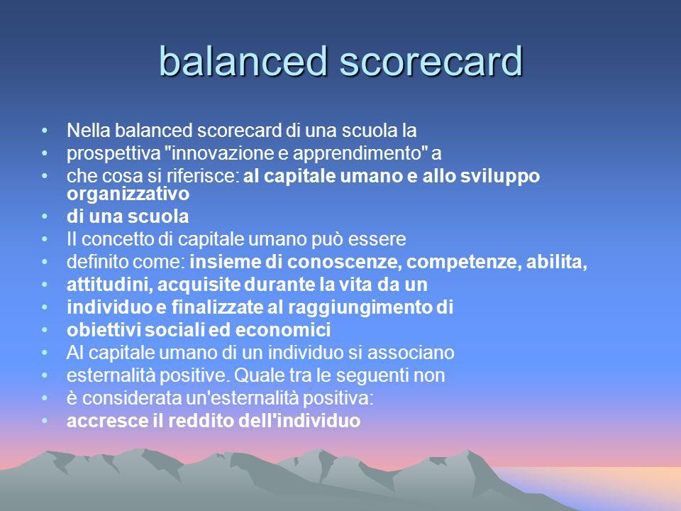balanced scorecard Nella balanced scorecard di una scuola la prospettiva