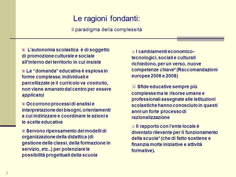 3 Le necessità della nuova governance I LEP dei diritti sociali possono trovare efficace risposta nelle logiche delle sussidiarietà e della pianificazione dei servizi a livello territoriale che richiedono nuove capacità di analisi e di coordinamento progettuale Si rende necessario, quindi, ripensare, i rapporti con le famiglie e gli Enti del territorio anche rispetto al loro coinvolgimento nei processi formativi, di cui sono legittimi portatori di interesse (network governance) il dare conto dei risultati, con trasparenza, risulta essere il modo più significativo per tenere conto del proprio agito, in modo circostanziato e sistemico ad un tempo condividere e coinvolgere gli stakeholders nei processi decisionali e operativi agiti per raggiungere gli standard richiesti, gli obiettivi prefissati, nonché nella valutazione del valore sociale aggiunto (Dir.