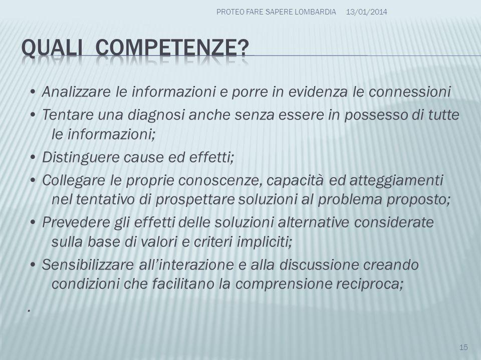 Analizzare le informazioni e porre in evidenza le connessioni Tentare una diagnosi anche senza essere in possesso di tutte le informazioni; Distinguer