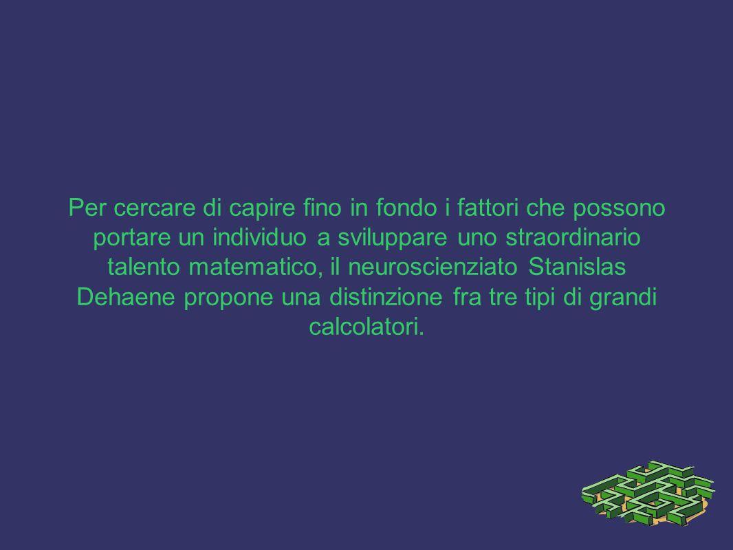 Per cercare di capire fino in fondo i fattori che possono portare un individuo a sviluppare uno straordinario talento matematico, il neuroscienziato Stanislas Dehaene propone una distinzione fra tre tipi di grandi calcolatori.