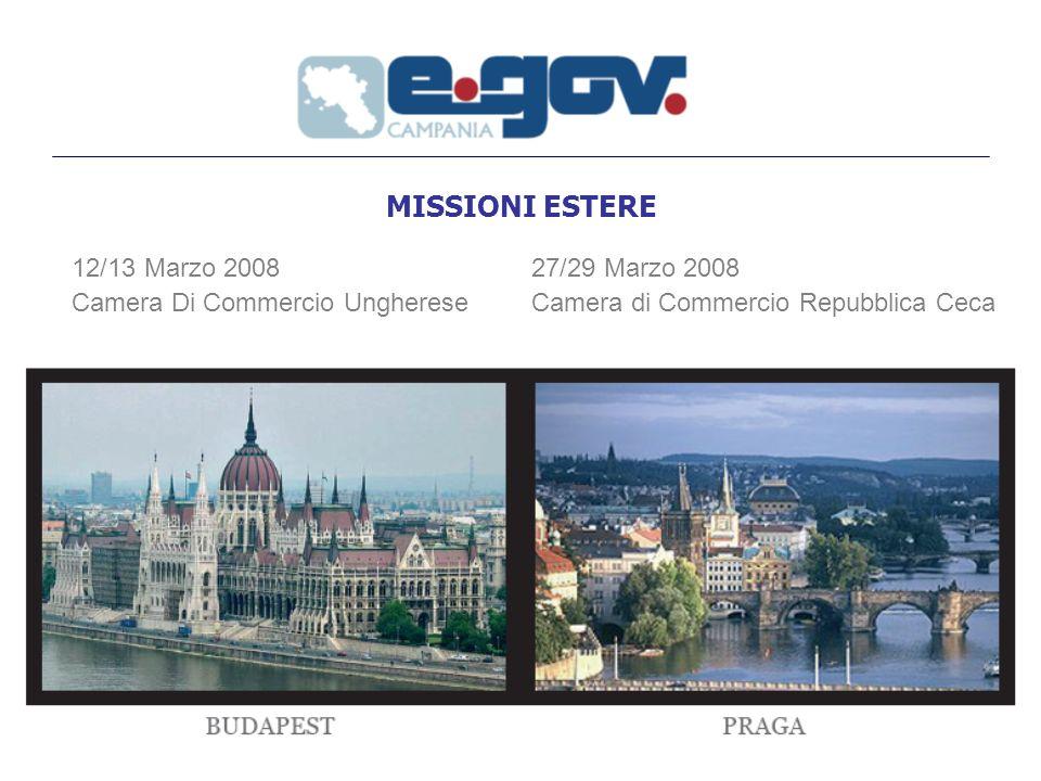 MISSIONI ESTERE 12/13 Marzo 2008 Camera Di Commercio Ungherese 27/29 Marzo 2008 Camera di Commercio Repubblica Ceca