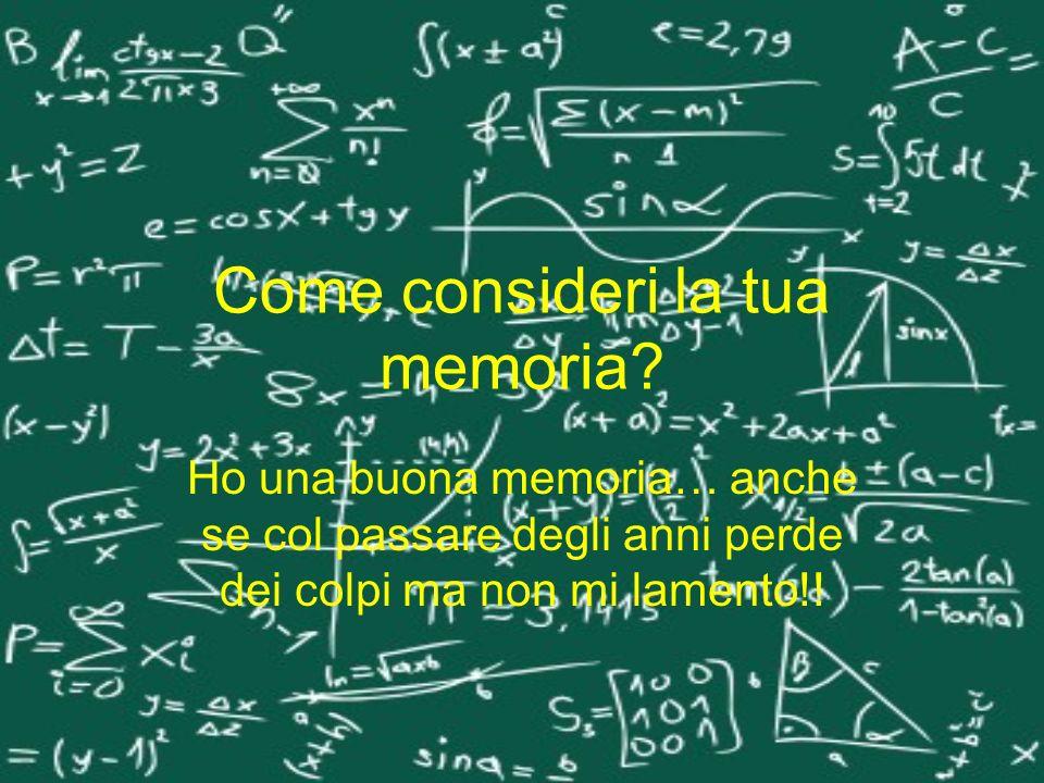 Come consideri la tua memoria? Ho una buona memoria… anche se col passare degli anni perde dei colpi ma non mi lamento!!