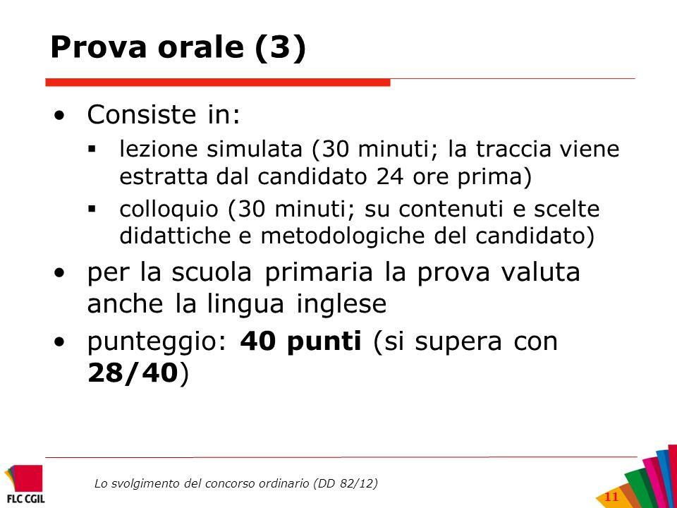Lo svolgimento del concorso ordinario (DD 82/12) 11 Prova orale (3) Consiste in: lezione simulata (30 minuti; la traccia viene estratta dal candidato