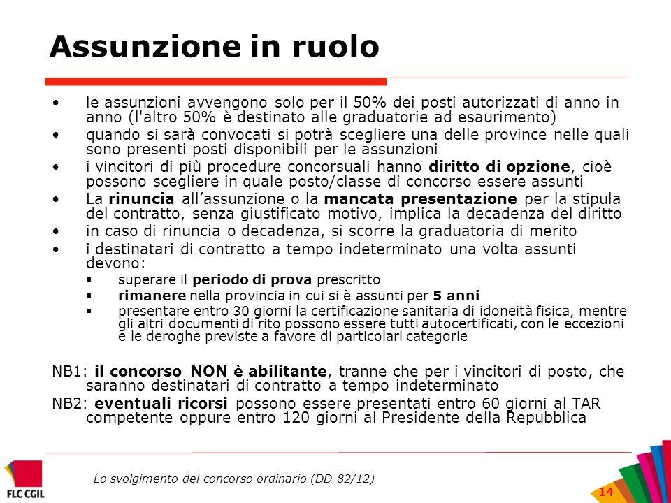 Lo svolgimento del concorso ordinario (DD 82/12) 14 Assunzione in ruolo le assunzioni avvengono solo per il 50% dei posti autorizzati di anno in anno