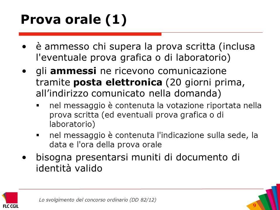 Lo svolgimento del concorso ordinario (DD 82/12) 9 Prova orale (1) è ammesso chi supera la prova scritta (inclusa l'eventuale prova grafica o di labor