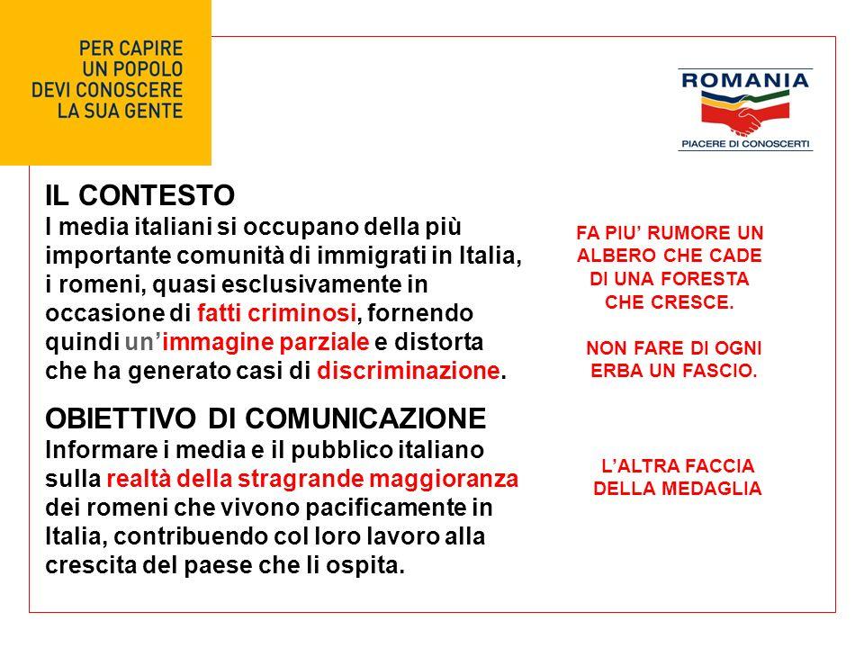 IL CONTESTO I media italiani si occupano della più importante comunità di immigrati in Italia, i romeni, quasi esclusivamente in occasione di fatti criminosi, fornendo quindi unimmagine parziale e distorta che ha generato casi di discriminazione.