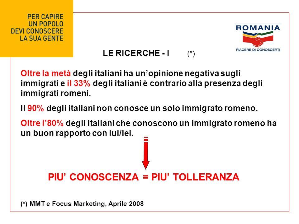 LE RICERCHE - I Oltre la metà degli italiani ha unopinione negativa sugli immigrati e il 33% degli italiani è contrario alla presenza degli immigrati romeni.