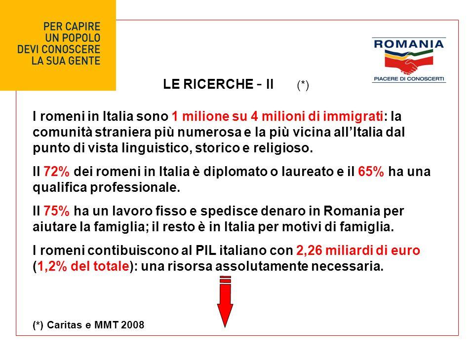 LE RICERCHE - II I romeni in Italia sono 1 milione su 4 milioni di immigrati: la comunità straniera più numerosa e la più vicina allItalia dal punto di vista linguistico, storico e religioso.