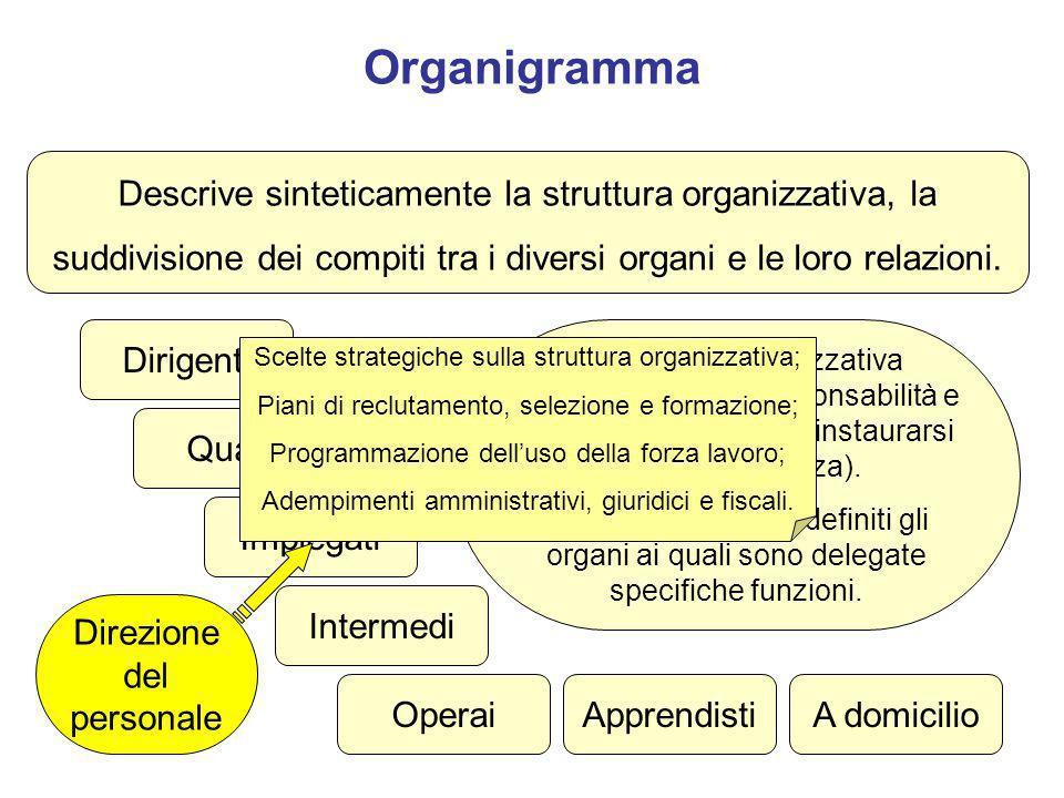 Organigramma Descrive sinteticamente la struttura organizzativa, la suddivisione dei compiti tra i diversi organi e le loro relazioni. Quadri Impiegat