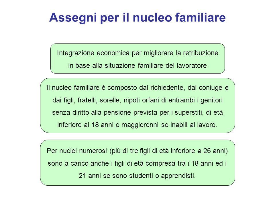 Calcolo degli assegni per il nucleo familiare Gli assegni sono corrisposti in misura differenziata in relazione alla composizione del nucleo familiare ed al reddito (a condizione che sia formato per almeno il 70% da reddito di lavoro dipendente).