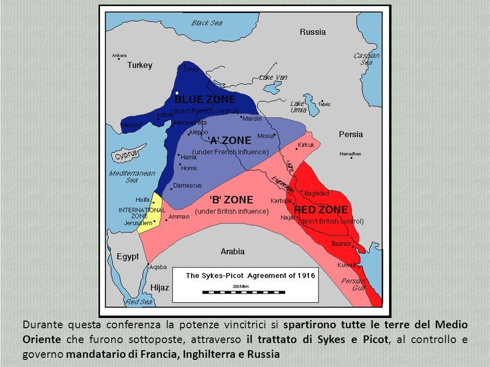 Durante questa conferenza la potenze vincitrici si spartirono tutte le terre del Medio Oriente che furono sottoposte, attraverso il trattato di Sykes