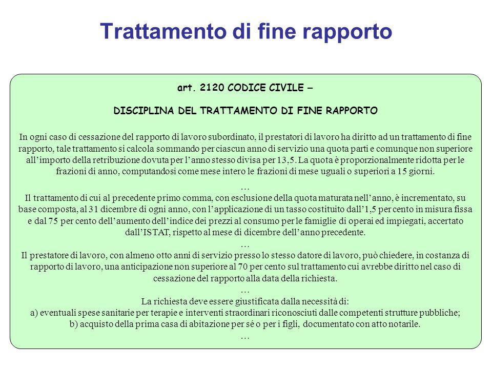 Trattamento di fine rapporto art. 2120 CODICE CIVILE – DISCIPLINA DEL TRATTAMENTO DI FINE RAPPORTO In ogni caso di cessazione del rapporto di lavoro s
