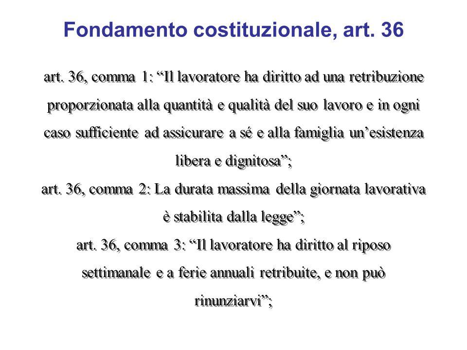 Fondamento costituzionale, art. 36 art. 36, comma 1: Il lavoratore ha diritto ad una retribuzione proporzionata alla quantità e qualità del suo lavoro