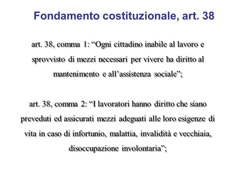 Fondamento costituzionale, art. 38 art. 38, comma 1: Ogni cittadino inabile al lavoro e sprovvisto di mezzi necessari per vivere ha diritto al manteni